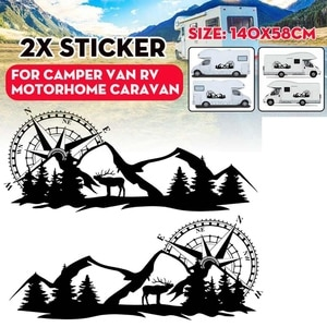 RV Motorhome Universal Body Sticker DIY Compass Navigation Animal Decal Sticker Decoration for Car Caravan Trailer