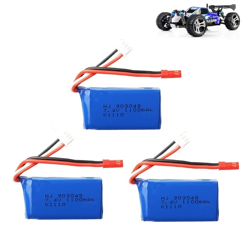 3Pcs for Wltoys A949 A959 A969 A979 K929 LiPo Battery 7.4V 1100mah 903048 25c Lipo Battery For RC Helicopter Airplane Cars Boats wltoys v911s rc helicopter 2 4g 4ch 6 aixs stunt gyroscope flybarless rtf 3 7v 250mah rtf bnf model toys lipo battery rc airplan