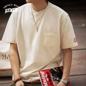 Solid T-shirts Men Vintage Round Neck Tee Short Sleeve Casual White Beige Loose Contrast T-shirt Pocket Man