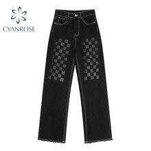 Vintage Y2k Women Jeans High Waist Baggy Streetwear 2021 Autumn Casual Loose Washed Denim Wide Leg P