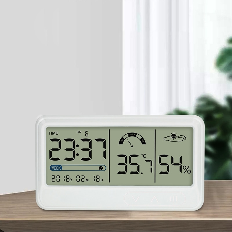 Rechargeable Digi-tal Indoor Thermometer Hygrometer with Date/Wee/Time/Alarm Large LCD Display Greenhouse Garden Cellar