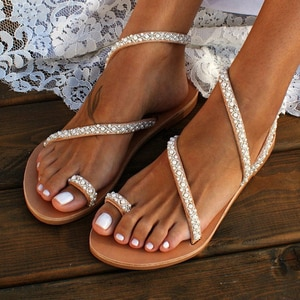 Women Sandals Summer White Wedge Shoes Open Toe Gladiator Sandals Comfortable Womens Slip-on Rhinestones Women Platform Sandals