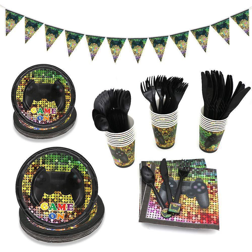 Nuevos suministros para temática de juego fiesta decoración cumpleaños niños, platos de vajilla desechables, servilletas de papel, Banner