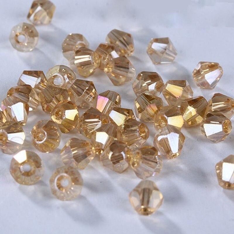 100 Uds exquisitas cuentas de 4mm bicono dorado champán cuentas de cristal sueltas para joyería collar DIY collar pulsera artesanal