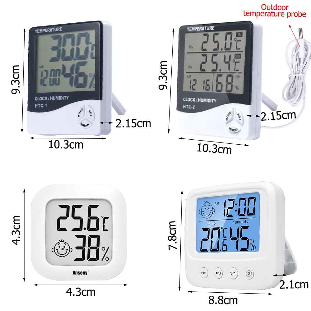 LCD Electronic Digital Temperature Humidity Meter Thermometer Hygrometer Indoor Outdoor Weather Stat