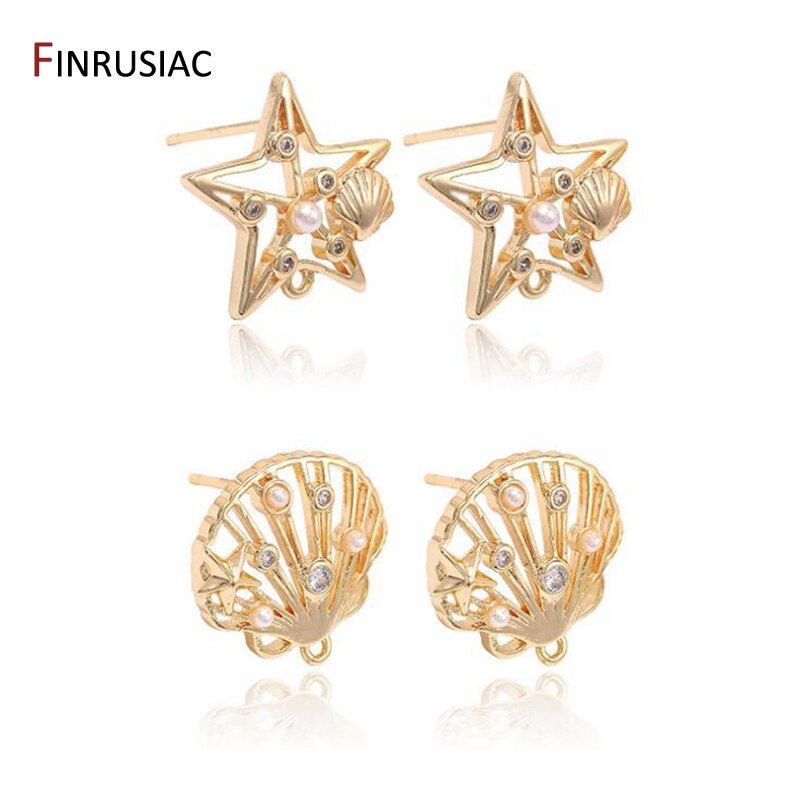 DIY Ohrringe, Der Zubehör Starfish / Shell Form 14K Gold Überzog Intarsien Zirkon Perle Charme Ohrringe Stud Ohrringe Haken