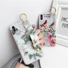 3D рельеф Цветочные телефонные чехлы для Vivo Y17 Y51 Y55 Y66 Y67 V5 Lite V5S Y71 V7 V9 Z1 Y95 Girly цветок Стенд мягкий ремешок на запястье крышка