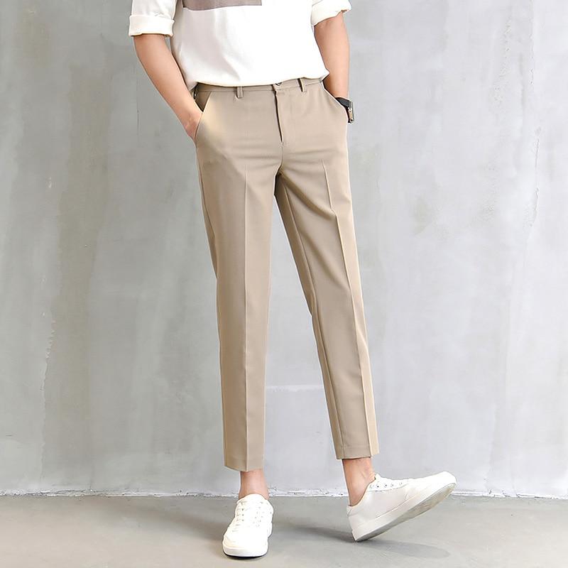Мужские костюмные брюки, модные облегающие прямые брюки, деловые повседневные брюки, черные, хаки, серые Костюмные брюки, Костюмные брюки дл...