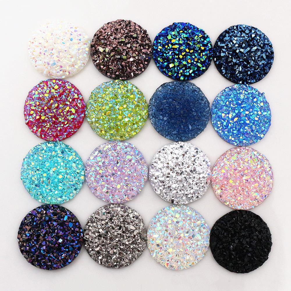 Nueva moda 10 piezas 20mm 25mm mezcla de colores Natural mineral estilo plano de resina cabujones para pulsera pendientes Accesorios
