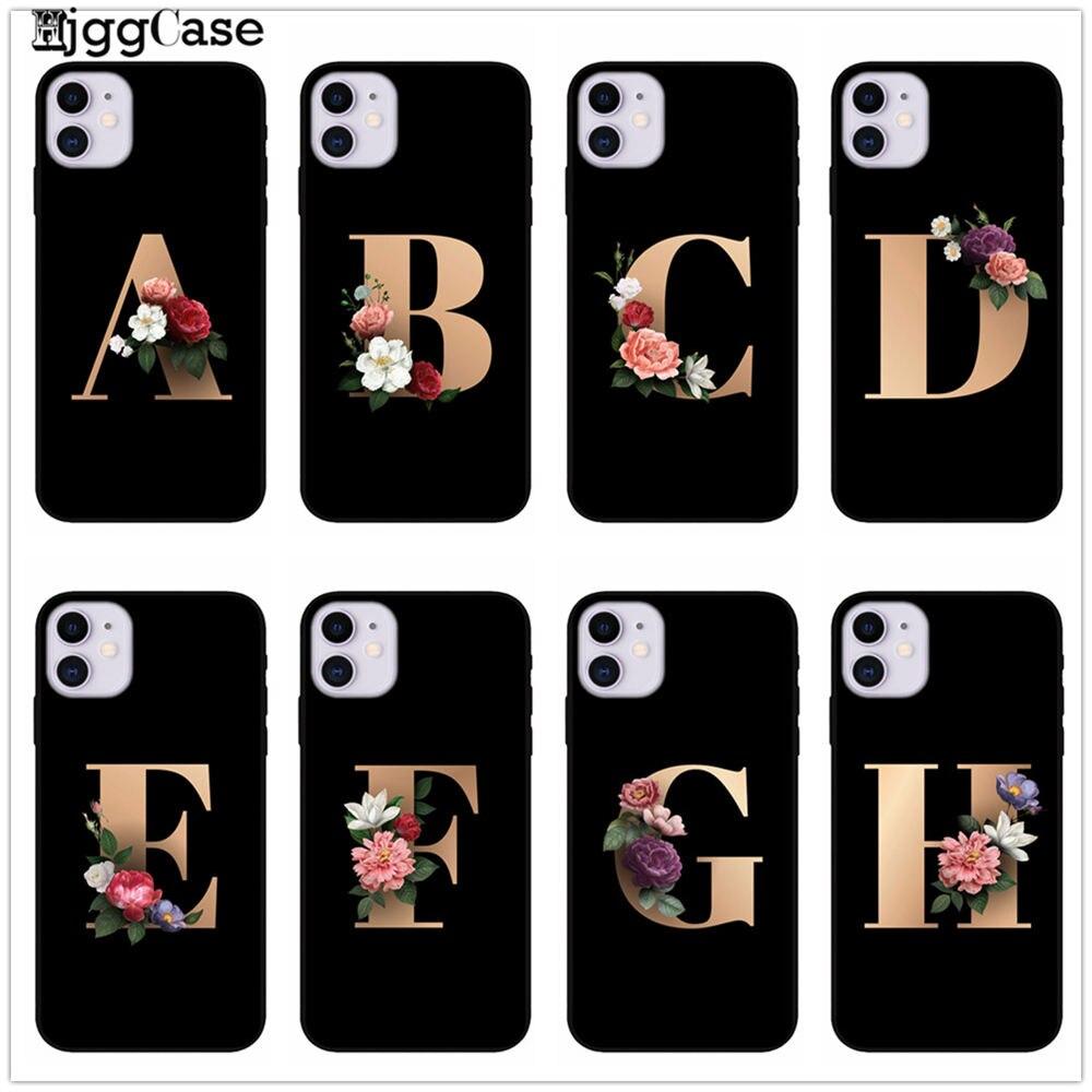 Funda para teléfono con estampado de letras alfabeto flores Floral negro para iPhone 11 Pro X 7 5 6 6s 8 plus Xs XR Max SE funda de silicona para teléfono