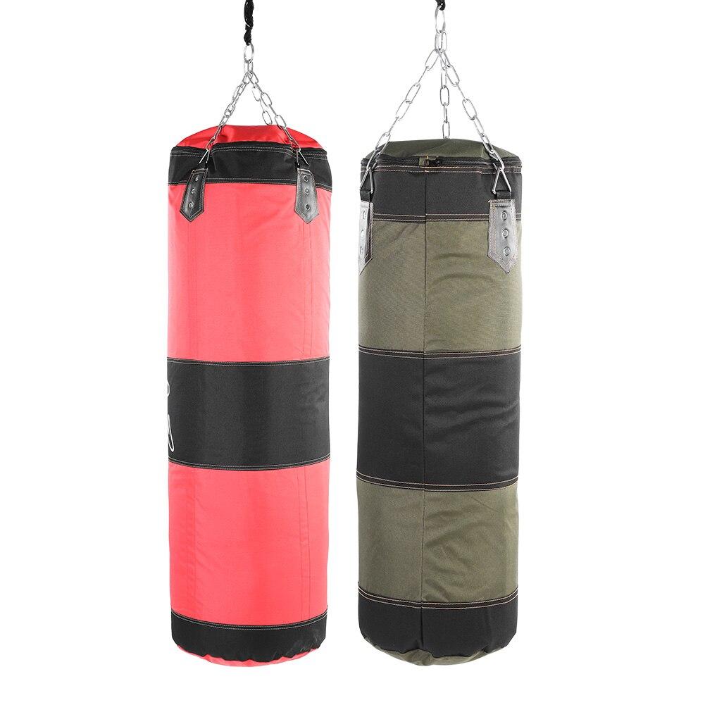 Bolsa de arena para patadas colgantes, bolsa de arena vacía para boxeo, entrenamiento de boxeo, lucha, golpe de Karate, saco de arena con cadena de Metal, mosquetón