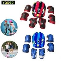 7pcsset kids bike helmet pad set elbow knee wrist pads protective gear set for skateboard roller skating cycling wrist guards