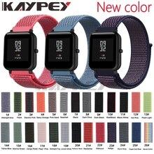 Correa tejida de nailon de 20mm para Xiaomi Huami Amazfit Bip BIT Lite, reloj inteligente para jóvenes, pulsera de muñeca portátil, correa de reloj Amazfit