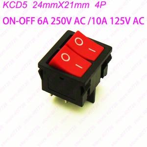 100PCS KCD5 4PIN Double Latching Rocker Switch O- Panle Power Switch Push Button Switch Seesaw Switch 6A 250V AC/10A 125V AC