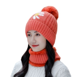 New Winter Hat Scarf Set For Women Beanies Hats Girls Plus Velvet Warm Caps Female Thick Plush Knitted Hats Outdoor Riding Sets