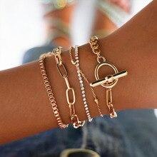 5PCs Gold chain Bangles Bracelets Set Boho Charm Bracelets for Women Wrist Bracelets Femme Jewelry