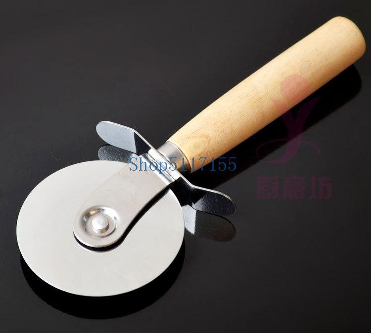 Cortador de Pizza de acero inoxidable de 200 piezas con mango de madera cuchillo de Pizza cortador de Pasta