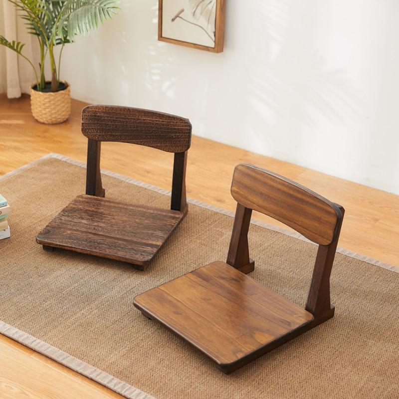 كرسي Zaisu الخشب الياباني بدون أرجل القراءة التأمل لعبة الطابق الجلوس مع دعم الظهر لغرفة المعيشة شرفة خليج الأثاث