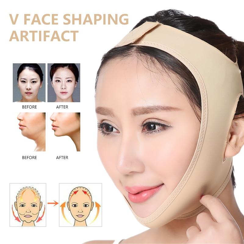 Doble mentón adelgazante facial en forma de V máscara delgada levantar antiarrugas máscara Correa V cara línea cinturón mujeres cara mascarilla de adelgazamiento