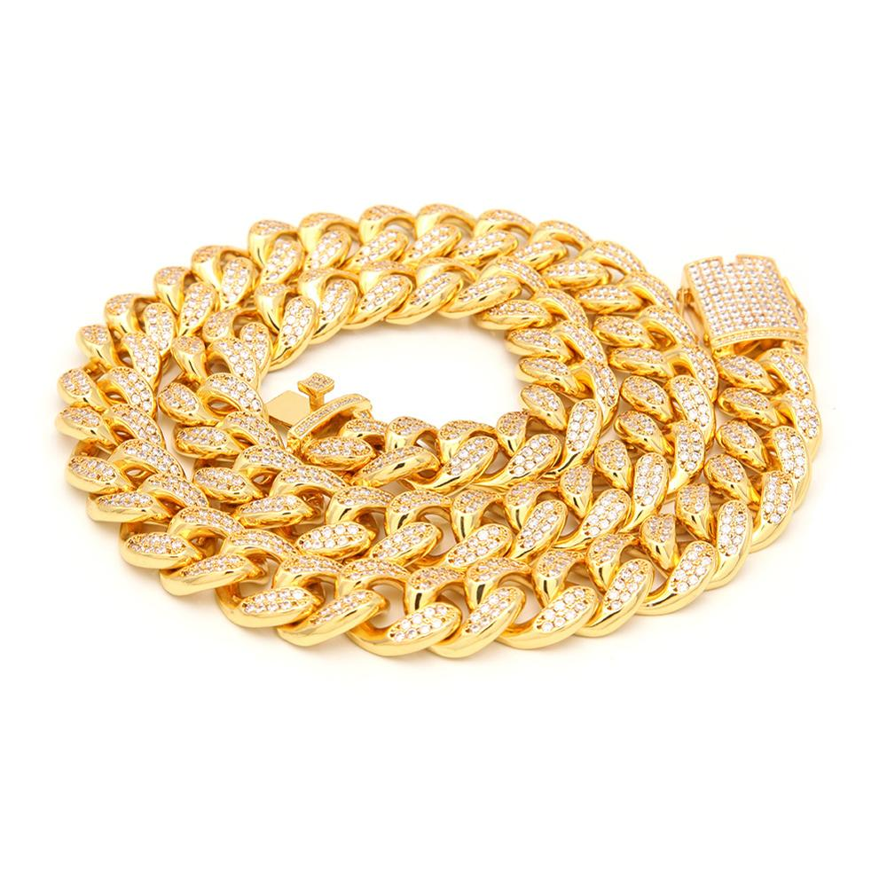 Ice Crystal Cubic Zircon Powder Hip Hop Cuban Chain 16 18 20 22  24 Inch Gold Necklace Men personality Charm Jewelry Gift