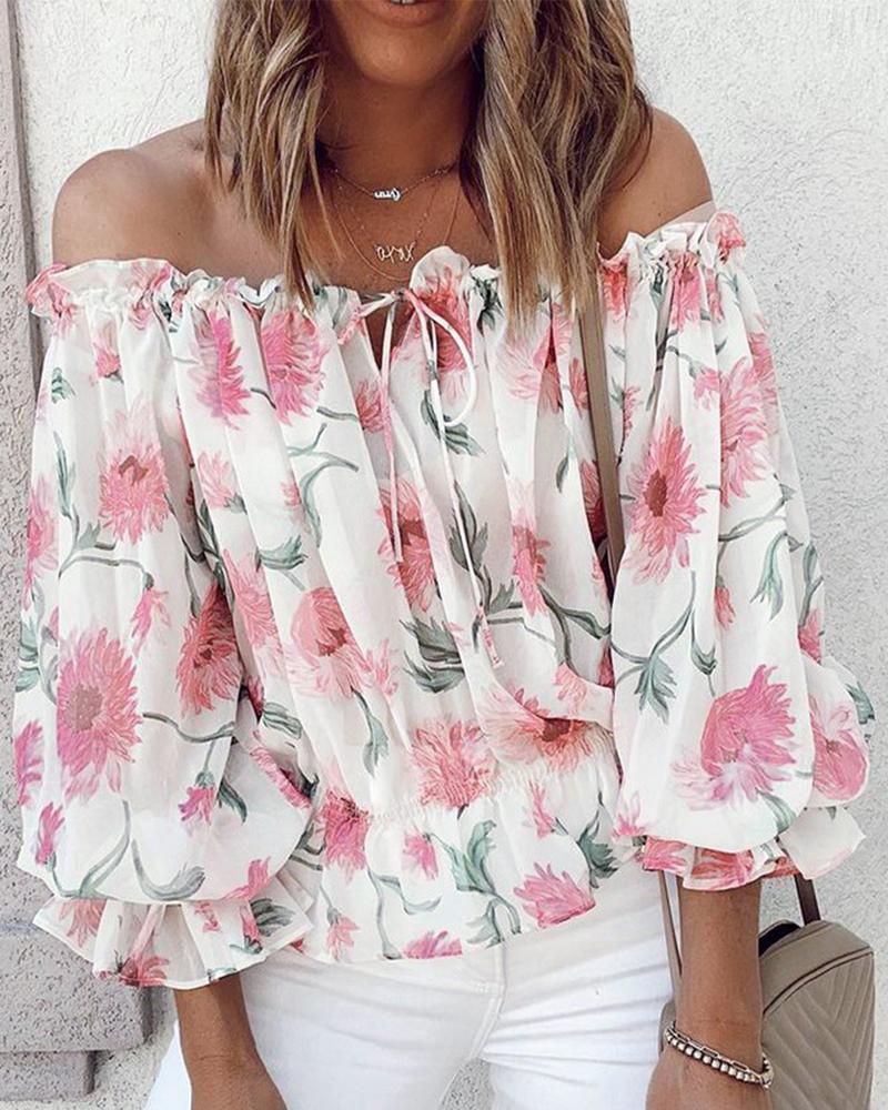 2021 Women Plus Size Long Sleeve  Off Shoulder Floral Print Lantern Sleeve Top Off Shoulder Floral Print Lantern Sleeve Top plus allover bird print ruffle sleeve top