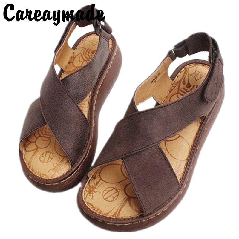 Care-صندل من الجلد الطبيعي بنعل سميك مصنوع يدويًا ، أحذية كلاسيكية مصنوعة يدويًا ، نعل مافن أصلي ، صنادل صيفية