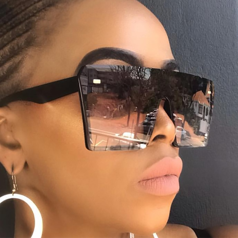 Oversized Square Sunglasses Women 2020 Luxury Brand Fashion Flat Top Red Black Clear Lens One Piece