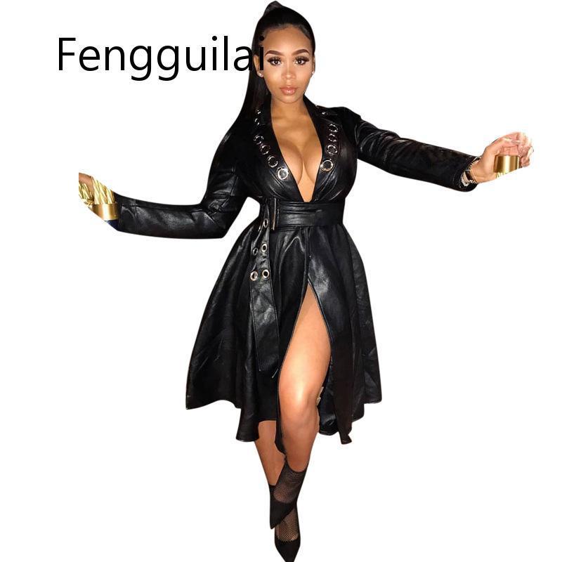 Женская длинная куртка из искусственной кожи FENGGUILAI, длинная приталенная мотоциклетная куртка из искусственной кожи с поясом, большие разме...