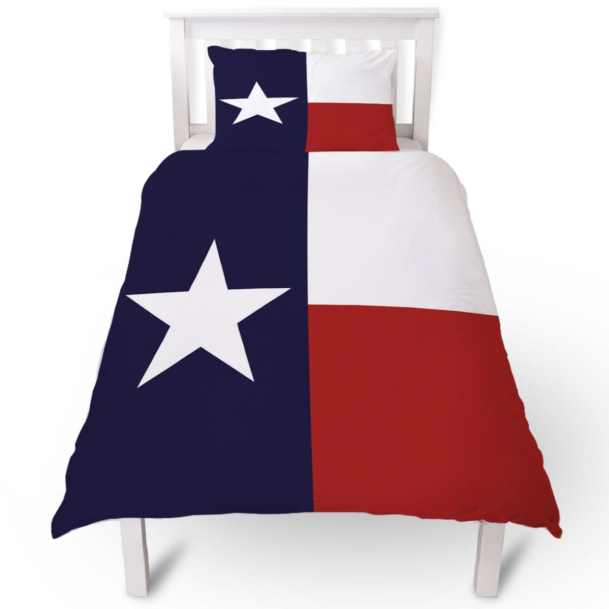Estado de Texas bandera rojo blanco azul edredón almohada caso conjunto de funda de edredón de cama conjuntos de cama individual para la cama