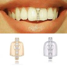 Argent or cristal bâton forme haut dents Grillz Punk grilles dentaire or dent casquettes rappeur mode corps bijoux cristal Grillz