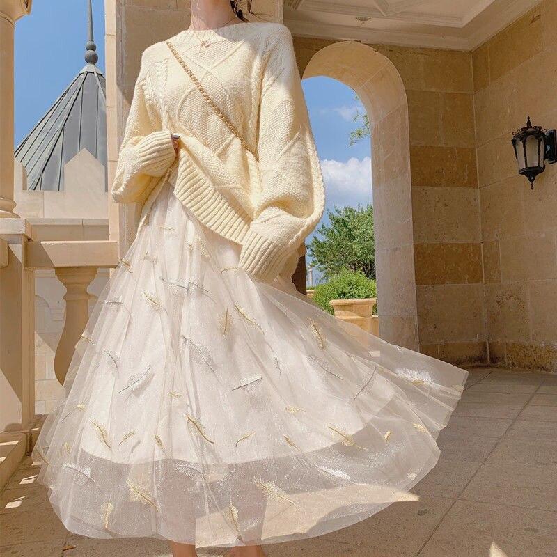 Spring and autumn 2021 new mesh skirt super fairy long star sky yarn half-length summer