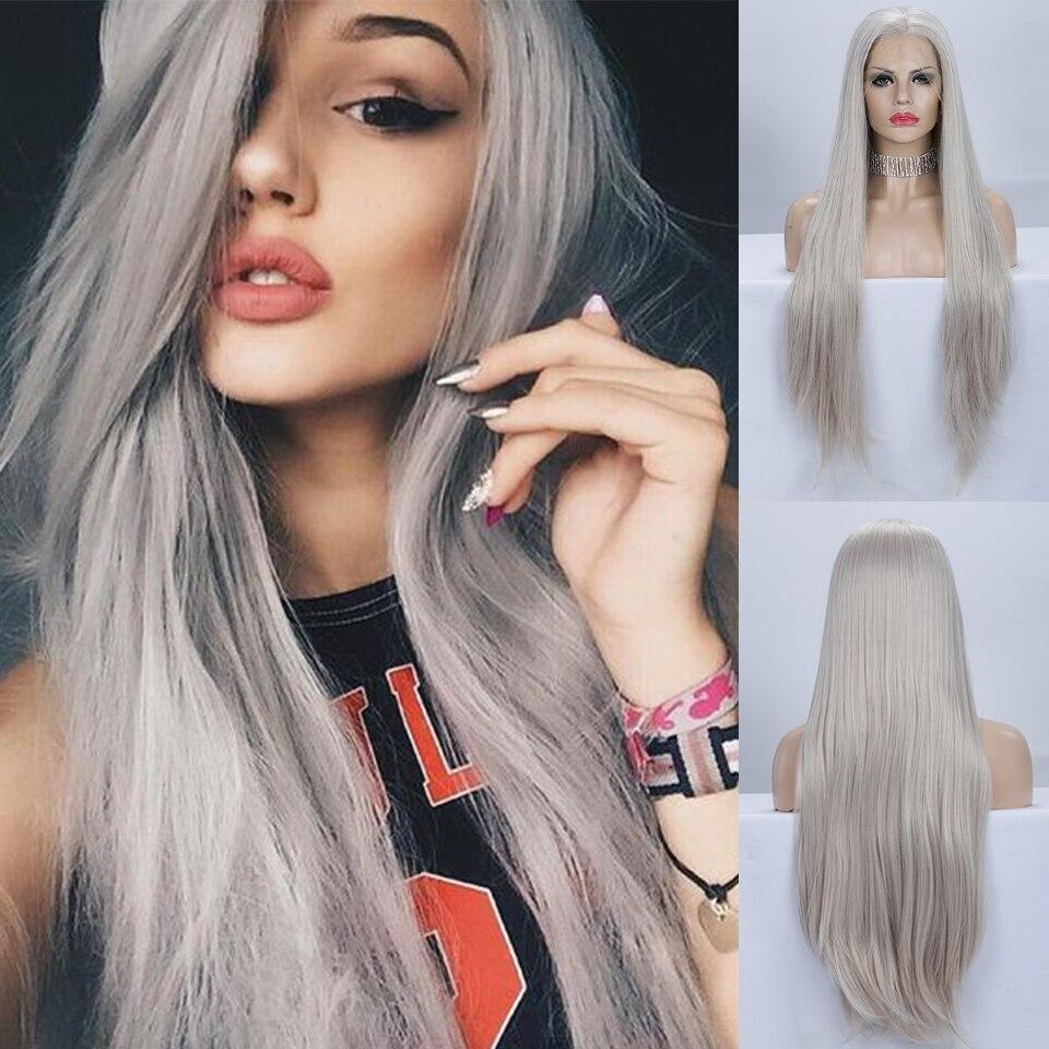 Peluca gris de Pinkshow Pelo Largo liso peluca frontal de encaje sintético pelucas de fibra resistente al calor sin pegamento para mujeres
