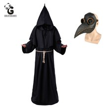 Plague Doctor Christ Costumes Men Monk Cosplay Plague Doctor Mask Steampunk Robe Priest Horror Wizard Halloween Witch  Women