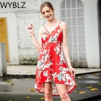 wyblz boho floral print sleeveless dress 2021 summer womens spaghetti strap irregular mini dresses sexy beach party red sundress