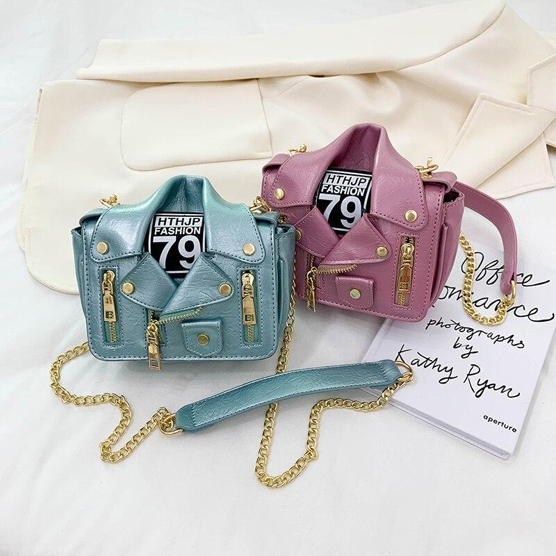Motorcycle Square Bag for Women Chain Shoulder Bag Designer Jacket Clothes Bag High Quality Leather Crossbody Bag Brand Pures