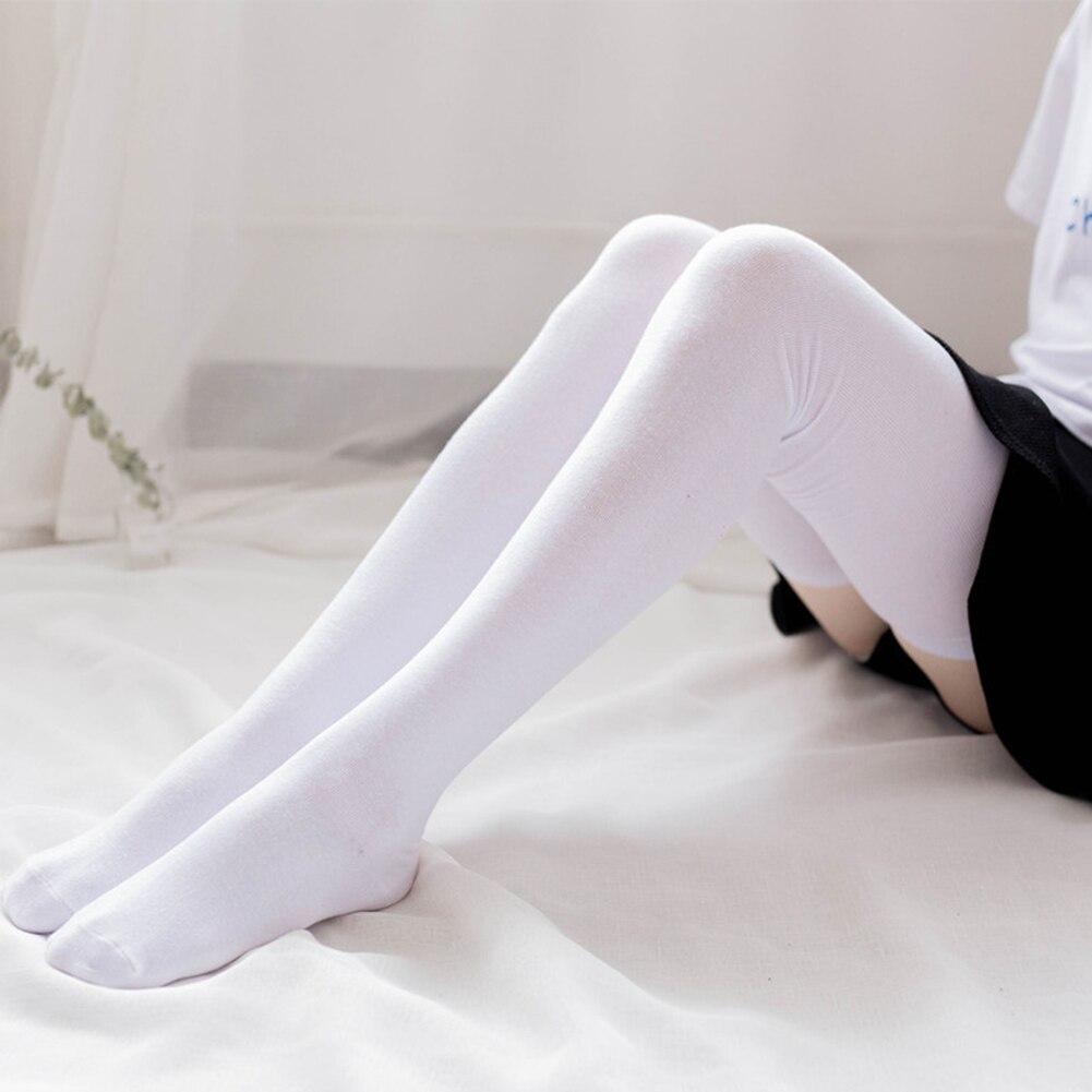 Nueva 1 par de algodón de primavera y otoño de las mujeres sobre la rodilla calcetines altos, calcetines de invierno cálido de punto Niña suave de alta del muslo Calcetines largos Calcetines 70/80 cm.