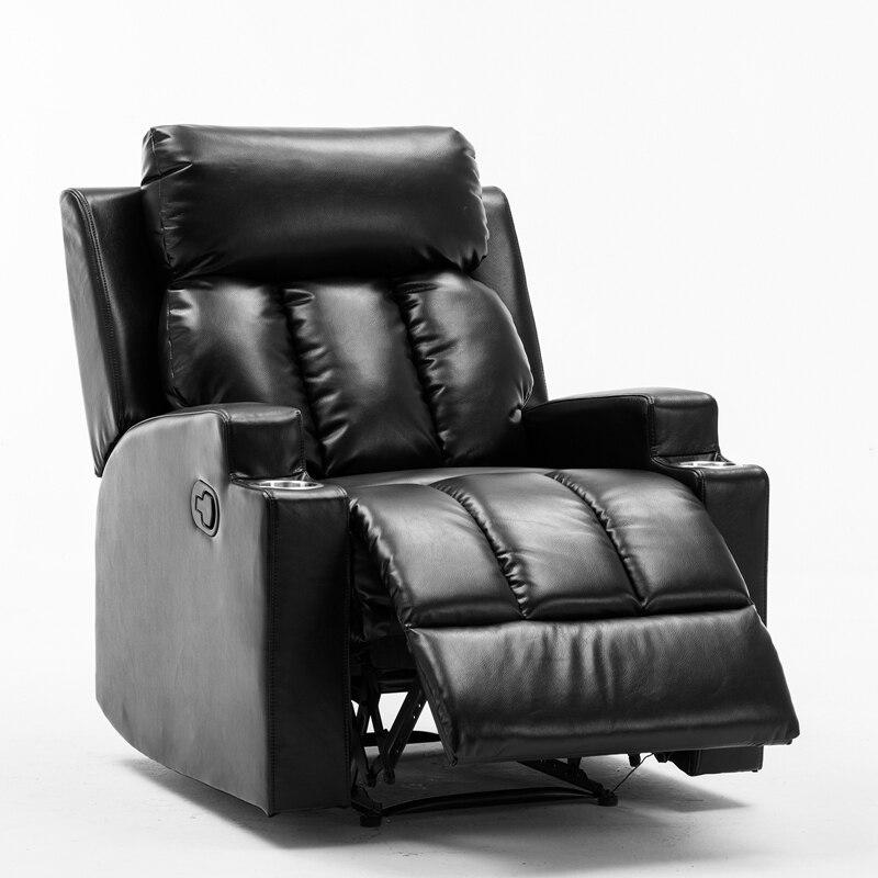 كرسي جلد PU قابل للتنفس مع 2 حامل أكواب ، مقعد المسرح الحديث ، أريكة غرفة المعيشة واحدة سميكة