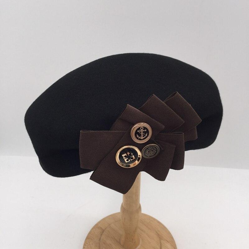 New winter Japanese black women's wool beret buttons designer temperament painter