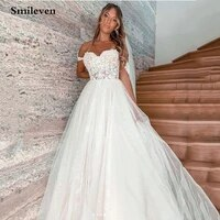 smileven lace wedding dress off the shoulder puffy tulle bride dresses a line elegant lace country wedding bridal gowns 2020