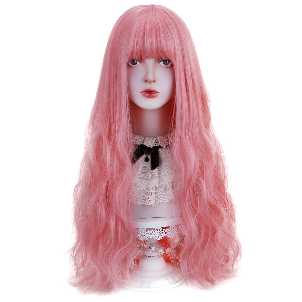 Free Beauty Long Wavy Synthetic pink, red,, blue Hair Wigs with Bangs for Women Lolita Cosplay Costume Party Halloween
