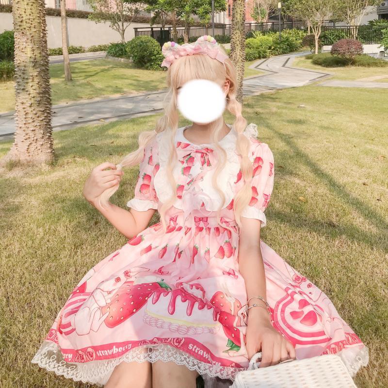 Sommer JSK süße Erdbeere lolita kleid Rosa Lolita kleid rosa süße licht Lolita puppe kragen mädchen Lolita op kleid