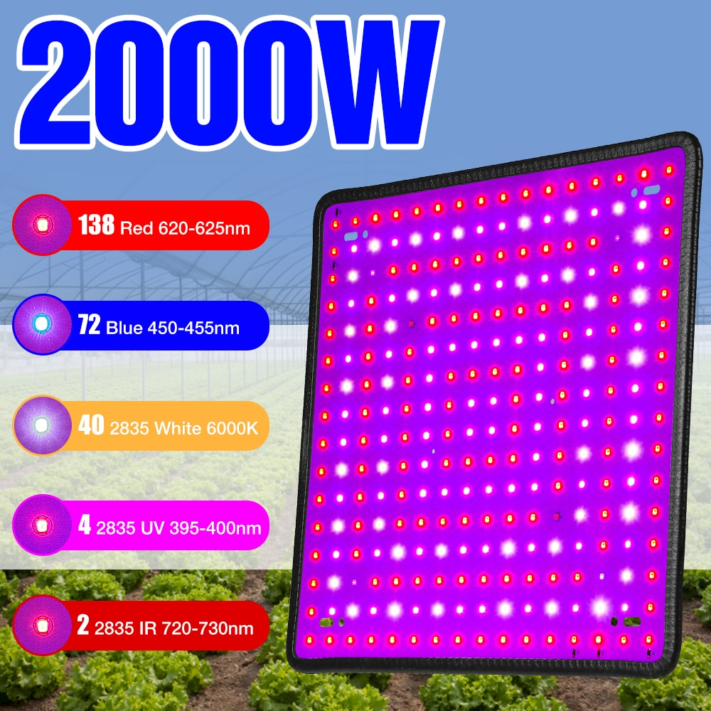 2000W LED Phyto Lamp LED Grow Light Full Spectrum LED Plant Light For Indoor Seedlings Flower Fitolampy Grow Tent Hydroponics greenhouse led grow light e27 15w 21w 27w 36w 45w 54w led grow lamp for plants flower plant orchids seedlings hydroponics system