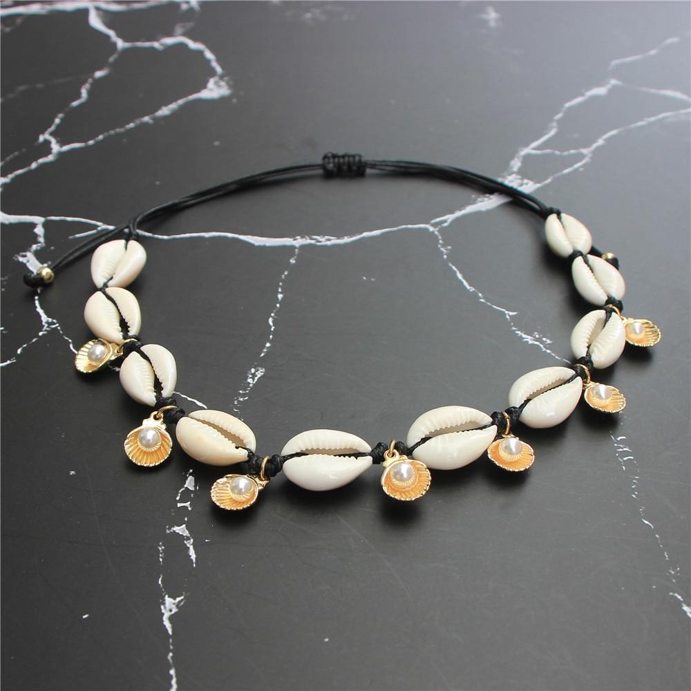 Joyería hecha a mano de concha marina Puka Cowrie gargantilla collar perla de imitación colgante de vieira collar Ajustable para mujeres