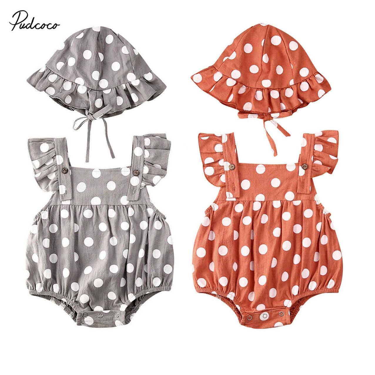 2020 lindo bebé recién nacido niños niña Bodysuit + Hat 2 uds Dot Ruffle manga larga Sunsuit Playsuit traje de verano 0-ropa de bebé 24M