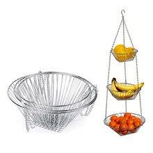 3 слоя фруктов овощей висячие корзины Бытовые аксессуары складной крючок для склада