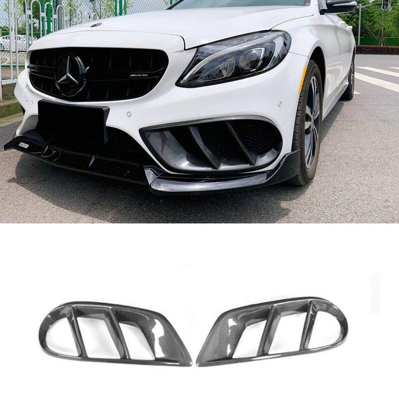Parachoques delantero de fibra de carbono de clase C, cubierta de ventilación embellecedora para Benz W205 C43 AMG C180 C200 Sport 2015-2018 Foglamp, marco de rejilla de malla
