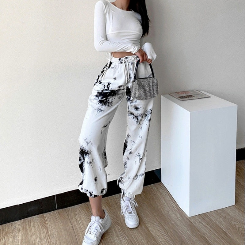 HOUZHOU Streetwear Tie Dye Sweatpants Women Baggy Korean Style White Sports Pants Plus Size Joggers Casual Trousers 2021 New