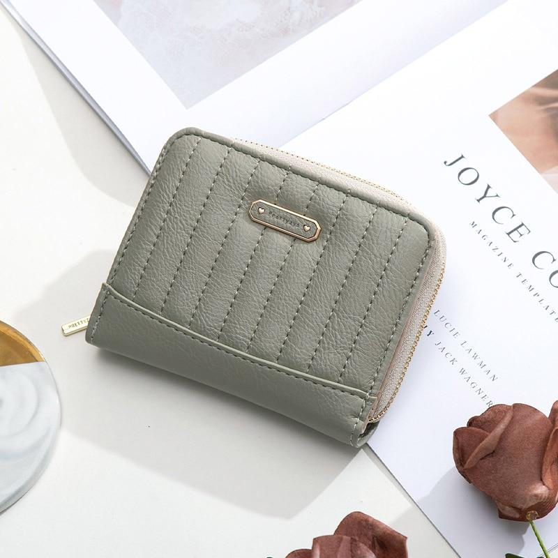 Prettyzys Fashion Thread Plaid Small Wallet Women Zipper Coin Purse Card Holder Short Purse Clutch W