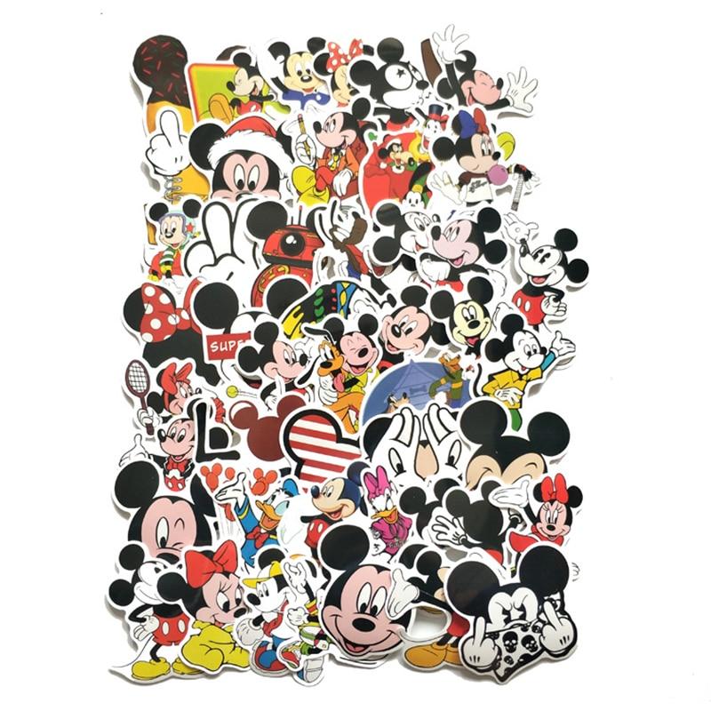 TD ZW 50 Uds pegatinas de dibujos animados de Mickey Mouse etiqueta impermeable portátil moto equipaje Snowboard nevera teléfono coche pegatina