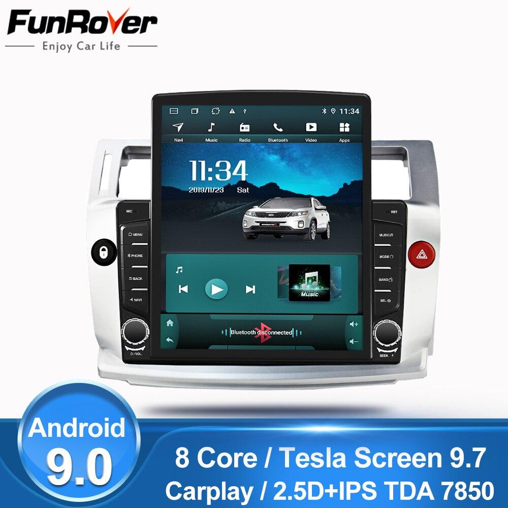 "Funrover 9.7"" Tesla screen For Citroen C4 C-Triomphe C-Quatre 2004-2009 android 9.0  Car Radio Multimedia Player GPS Navi no dvd"